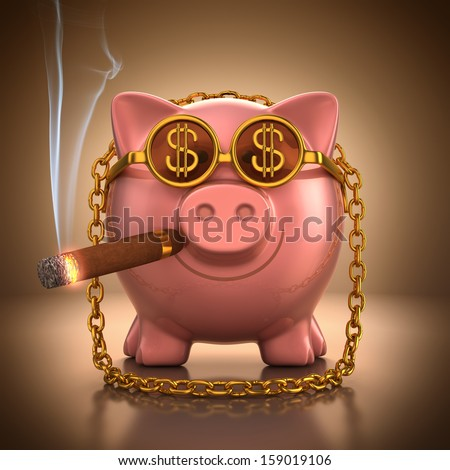 Piggy bank with gold accessories showing lust and wealth. With clipping path. - stock photo