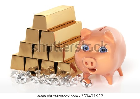 Piggy bank with gold bars - stock photo