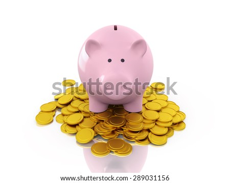 Piggy Bank with Gold Coins - stock photo