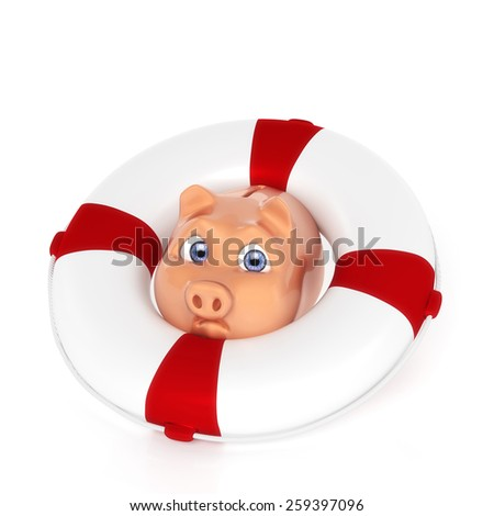 Piggy bank with Lifebuoy - stock photo