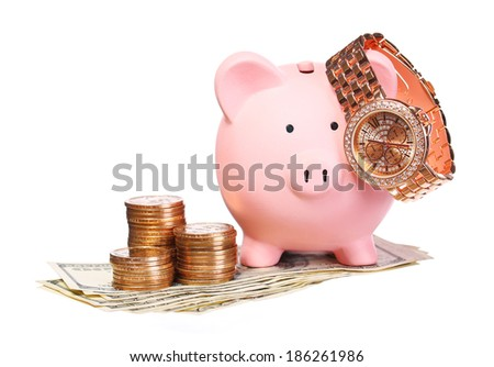 Piggy Bank with Money and Gold Watch isolated on white.