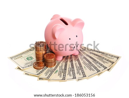 Piggy Bank with Money isolated on white. Dollar Bills and Gold Coins