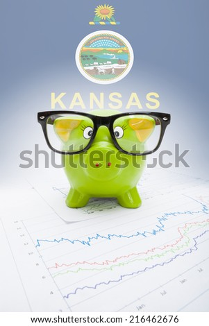 Piggy bank with US state flag on background - Kansas - stock photo