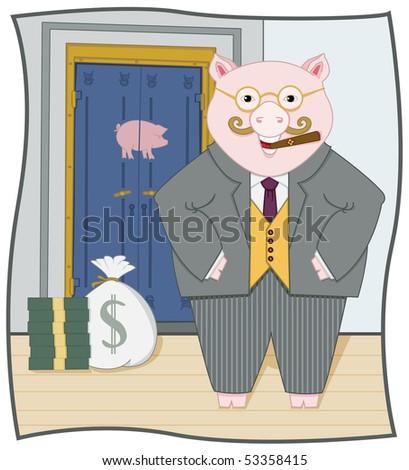 Piggy Banker - RASTER Version - stock photo