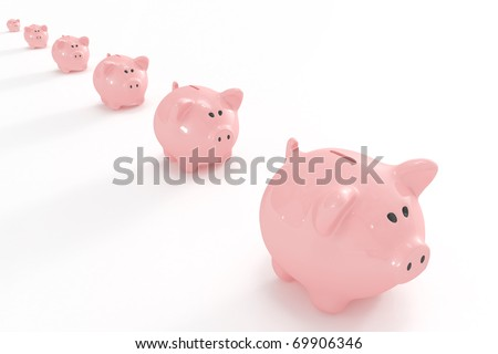 Piggy banks following the biggest one