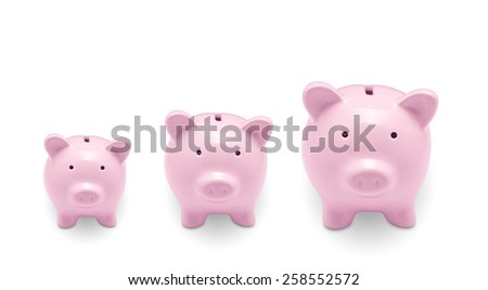 Piggy banks isolated on white background - stock photo