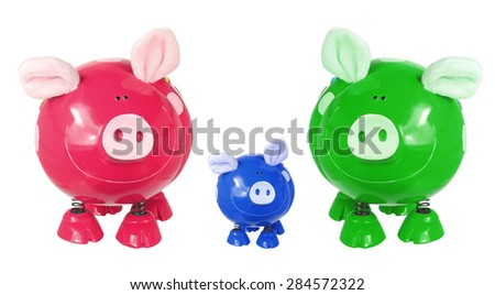 Piggy Banks on Isolated White Background