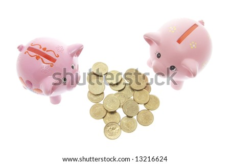 Piggy Banks with Coins on White Background