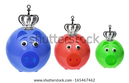 Piggy Banks with Crowns on White Background - stock photo