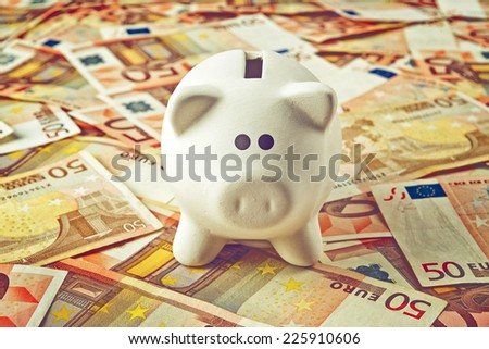Piggy Coin Bank standing on fifty Euro banknotes pile as home budget theme illustrative image. - stock photo