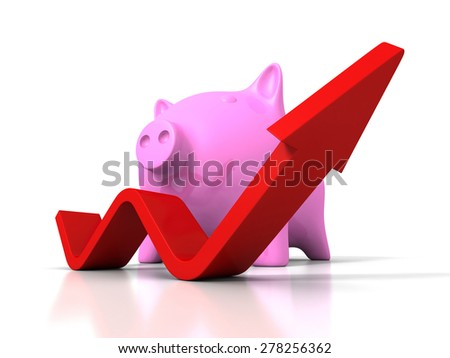 Piggy Money Bank With Growing Up Rising Arrow. Success Investment Concept 3d Render Illustration - stock photo