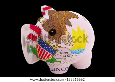 piggy rich bank in colors flag of us state of illinois for saving money on black background - stock photo