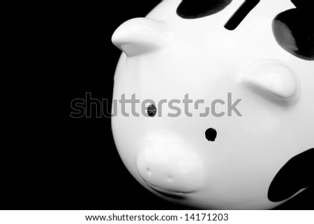 piggy saving box in black background