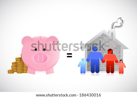piggybank and family home illustration design over a white background - stock photo