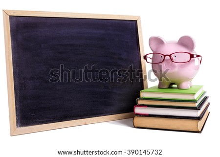 Piggybank wearing glasses, college student money planning concept - stock photo