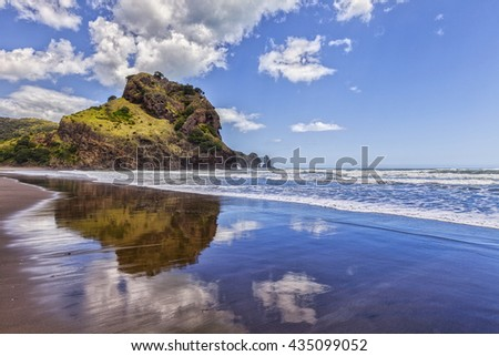 Piha Beach and Lion Rock, Auckland Region, New Zealand.