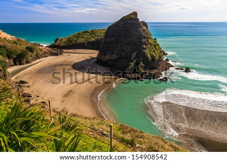 Piha Beach on the West Coast of the North Island, Auckland, New Zealand - stock photo