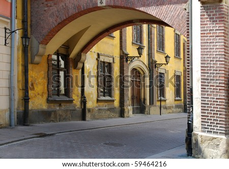 Pijarska Street in the old city in Cracow. Poland - stock photo