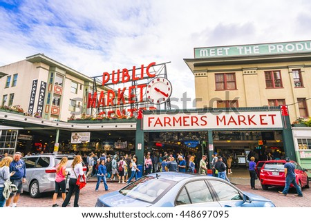 pike place market or Public market in summer,Seattle,Washington,usa. 07/05/16