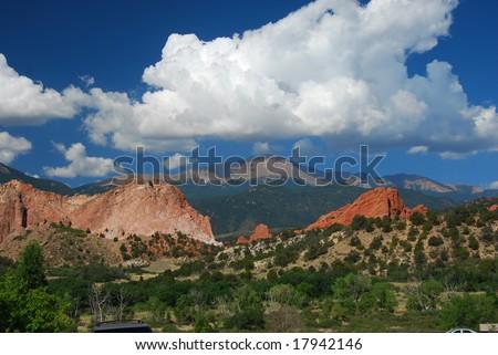 Pikes Peak at the Garden of the Gods near Colorado Springs, Colorado - stock photo
