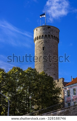 Pikk Hermann (or Tall Hermann) - a tower of the Toompea Castle on Toompea hill in Tallinn, the capital of Estonia. The first part of Castle was built in 1360 - 70.