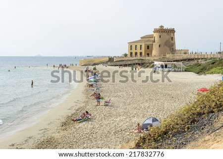 PILAR DE LA HORADADA, SPAIN - SEPTEMBER 16, 2014: Pilar de La Horadada is a municipality in Spain, province of Alicante. The beaches that are so popular town are located along the coast - stock photo