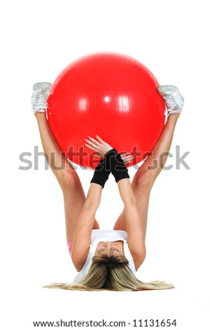 Pilates girl working on fitball. Pilates ball and fitness girl concept - stock photo