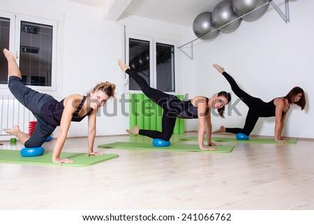 pilates group training - stock photo