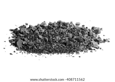 pile black coal isolated on white background - stock photo