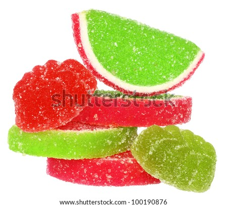 Pile candy on a white background. - stock photo