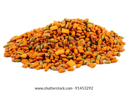 pile cat food on white background - stock photo