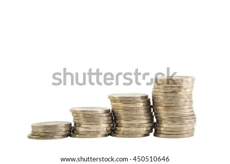 pile coin isolated on white background. With clipping mask. - stock photo