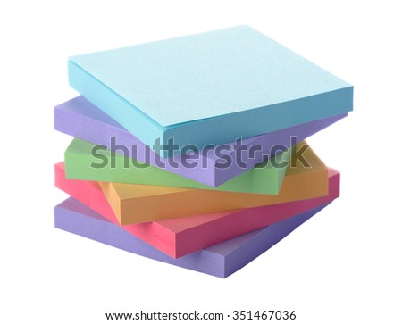 Pile colored block of post notes, closeup - stock photo