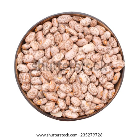 Pile Cranberry Bean in the wood bowl isolated on white background. Also called Borlotti Bean or Shell Bean. Cranberry beans are rounded with red specks.  - stock photo