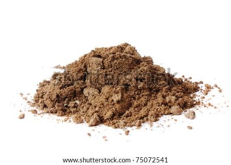 pile dirt of soil land on white background - stock photo
