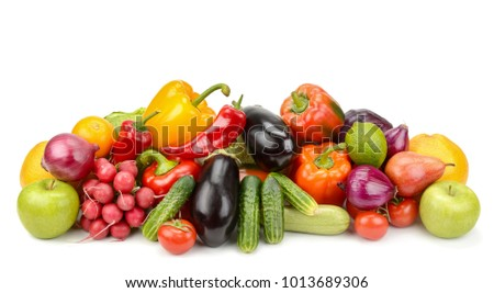 Pile fresh vegetables and fruits isolated on white background. Copy space