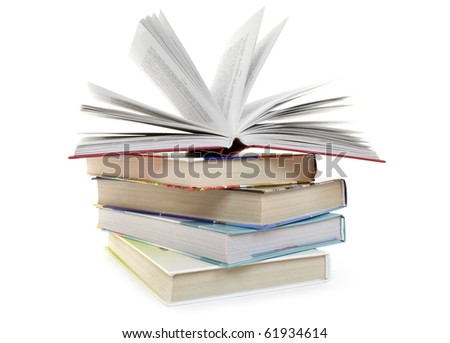 Pile from five books on a white background - stock photo