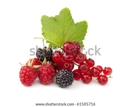 Pile from ripe fresh berries on the white background - stock photo
