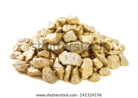 Pile golden stones closeup  isolated over white - stock photo