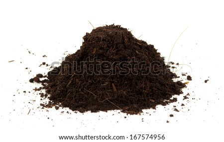 Pile heap of soil humus isolated on white background - stock photo