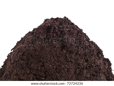 Pile heap of soil isolated on white background - stock photo