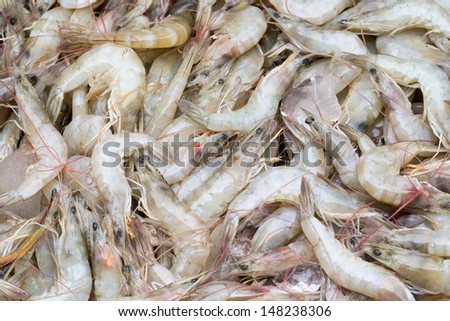 pile of a lot fresh and uncooked prawns