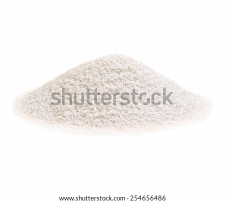 Pile of a white sand on white background.