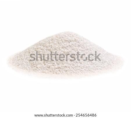 Pile of a white sand on white background. - stock photo