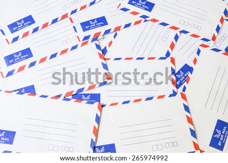 Pile of air mail envelope - stock photo