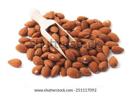 Pile of almond nuts isolated on white background - stock photo