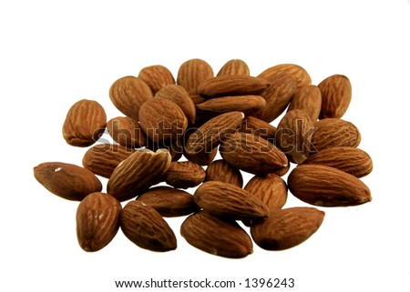 Pile of almonds - stock photo