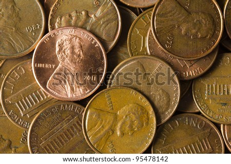 Pile of American Pennies. - stock photo