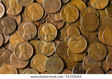 Pile of American pennies representing economy and finance. - stock photo