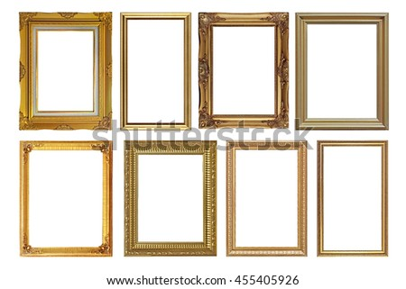 pile of antique golden picture frames isolated on white background